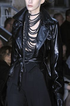 Ann Demeulemeester F/W 2010 (Neckpiece!) And leather...put a sheer pink blouse under that an wa,la...