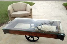 Antique Factory Cart Coffee Table Industrial Chic Lineberry Railroad Glass Top