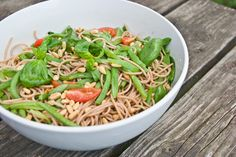 Spelt Spaghetti met Snijboontjes à la Pascale Naessens, echt lekker hoor!