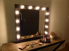 Make up Mirror with lights - Vanity mirror - Βlack or white- wall hanging - Hollywood style mirror for makeup addicts