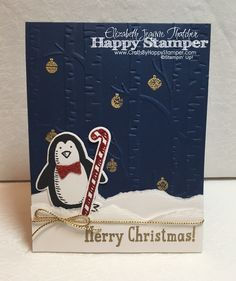 Stampin Up snow place penguin christmas card.