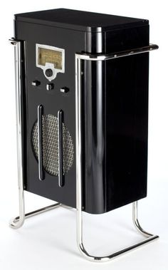Streamlined black lacquer and chrome RCA Model 6K10 floor radio designed by John Vassos, 1936
