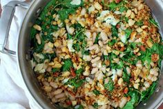 Skillet greens & beans with anchovy breadcrumbs