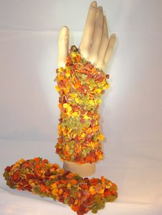 Hand knitted fingerless mittens in autumn colors. Sold :)