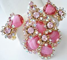Vintage Juliana D&E Pink Givre Rhinestone Brooch Pendant and Earrings Set..