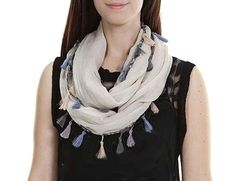 Feria Mode Women's Multi Color Tassel Infinity Scarf, One Size