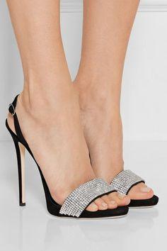Giuseppe Zanotti | Crystal-embellished suede slingback sandals | NET-A-PORTER.COM