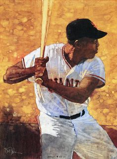 Baseball Art - Willie Mays by Bart Forbes Baseball Painting, Sports Painting, Baseball Art, Baseball Dress, Giants Baseball, Mlb Players, Baseball Players, Conceptual Drawing, Willie Mays