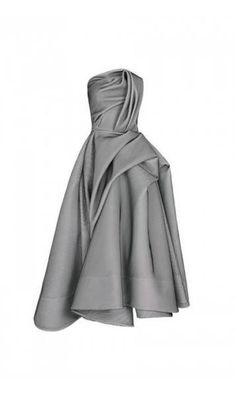 Maticevski Encompassing Dress strapless Maticevski dress features a draped bodice with a fitted waist, exaggerated pleats at the hip that cascade into a full skirt grey gray Grey Midi Dress, Strapless Midi Dress, Strapless Cocktail Dresses, Pleated Midi Dress, Midi Cocktail Dress, Draped Dress, Stripe Dress, Gray Gown, Midi Skirts