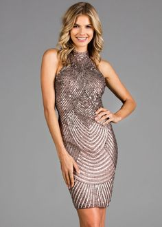 Scala 48895 High Neck Sequin Short Dress