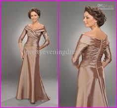 Wholesale 2012 New A-line V-neck Three quarter sleeve Floor-length Taffeta Mother of the Bride Dresses Online, Free shipping, $82.88-89.6/Piece | DHgate