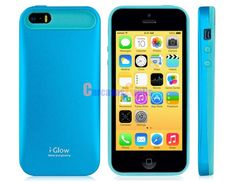 i-Glow 2-in-1 Silicone & Matte Metal Case for iPhone 5S/ 5 (Blue)