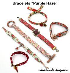 bracelets - to make? Fabric Bracelets, Fabric Necklace, Fabric Jewelry, Handmade Bracelets, Handmade Jewelry, Beaded Bracelets, Bracelet Making, Jewelry Making, Friendship Bracelet Patterns