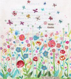 flower garden / print by kimartwork on Etsy, Spring Garden, Blank Cards, Surface Pattern, Watercolor Art, Wall Art, Paper, Creative, Artwork, Flowers