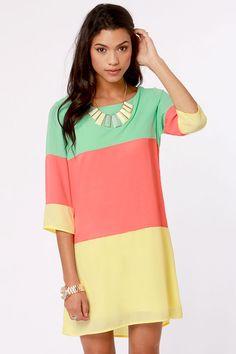 Citrus Grove Coral Color Block Shift Dress
