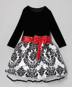 Black & Red Damask Dress - Toddler & Girls #zulily *cute