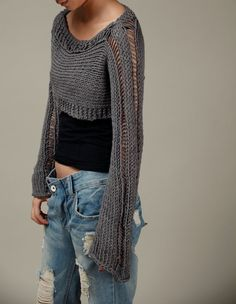 Hand knit sweater, Little shrug, cover up top in Charcoal