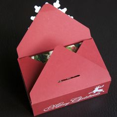 """Box closure - Lynn Donnelly, Box measures 4 3/8"""" x 2 5/8"""" depth 1 5/8"""" 8 x 8 card - punch & score at 2 1/4"""" turn& line up score line punch & score again. Repeat on all sides so you have 4 punched notches & a scored rectangle diagonally from to corner. Place one of the other 2 corners with no notches on the scoreboard at 3 3/8"""" punch & score. Turn and line up the score line, punch & score repeat on all 4 sides. Cut along score lines so you can fold the ends of the box up and stick to the…"""