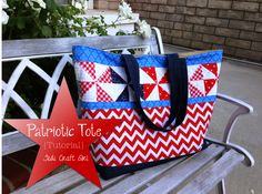 Patriotic Tote Bag Tutorial ..  I'm not a red, white and blue enthusiast, but this would be pretty in any colors of your choice.