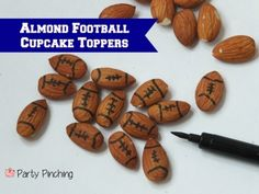 Easy almond football cupcake toppers tutorial
