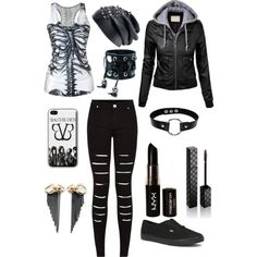 Scene goth emo by blacklace13 on Polyvore featuring polyvore, fashion, style, Vans, Thor & Wistle, Funk Plus, Gucci and NYX