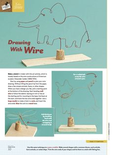 Wire sculpture w/cork base. Sculpture Lessons, Sculpture Projects, Sculpture Art, Wire Sculptures, High School Art, Middle School Art, 30 Day Art Challenge, 6th Grade Art, Grade 3