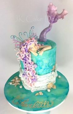 Mermaid birthday cake ---- pretty but mermaid would have to look like Inara Fancy Cakes, Crazy Cakes, Cute Cakes, Mermaid Birthday Cakes, Mermaid Cakes, Cake Birthday, Mermaid Mermaid, Mermaid Sequin, Gorgeous Cakes