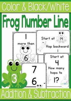 This life-size frog number line is intended to help students actualize number lines in their minds. They will get practice with number order, counting forward, counting backward, more than/less than terminology, missing addends, missing subtrahends, skip counting and more.