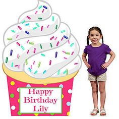Personalize your party with our exclusive Cupcakery Cupcake Standee. This cardboard prop measures 5 feet 7 inches high x 3 feet 10 inches wide.