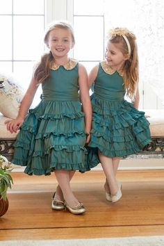 """Shop Chasing Fireflies for our Girls Iridescent Ruffled Dress. Cute Little Girl Dresses, Baby Girl Dresses, Baby Dress, Girl Outfits, Frock Patterns, Kids Dress Patterns, Kids Dress Wear, Kids Gown, Sewing Kids Clothes"