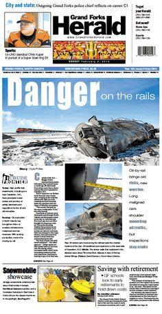 Feb. 2, 2014 #GrandForksHerald #Newspaperdesign #Frontpage #JanelleVonasek