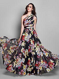 Sheath/Column One Shoulder Floor-length Chiffon Evening Dress (927300) | LightInTheBox