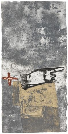 MA I CREU SOBRE GRIS By Antoni Tàpies Dimensions: 75,3 x 37,7 in. Medium: Etching and aquatint in colors over packing paper collage Creation Date: 1990