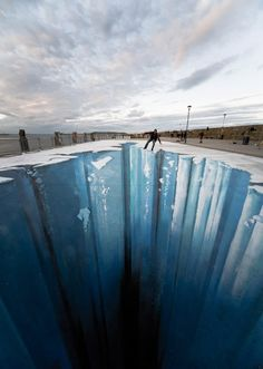 Julian Beever and Edgar Mueller...their incredible 3D sidewalk chalk murals are truly amazing and so realistic! These optical illusions use perspective to seem extremely convincing when seen from the right angle.