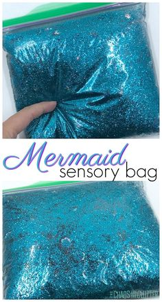 Mermaid Sensory Bag - create a sensory experience for kids to squeeze, knead, press and squish Making this mermaid sensory bag couldn't be easier. You can create a sensory experience that your child can squish and poke and knead and press. Sensory Activities Toddlers, Autism Activities, Infant Activities, Toddler Preschool, Toddler Crafts, Infant Sensory, Sea Activities, Motor Activities, Sensory Wall