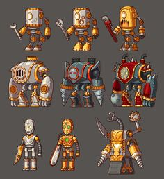 Game Design and concept art schools to make indie game Game Character Design, Game Design, Character Concept, Character Art, Pixel Art, Robot Cartoon, Steampunk Robots, 2d Game Art, Robots Characters