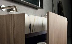 Flush-mount sink becomes apron-front when drawer is open