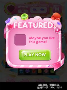 Candy cake dessert mobile game art UI