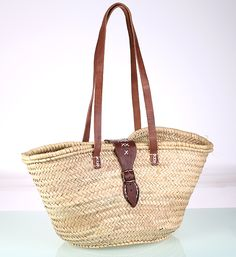 Kbas palmový košík s koženou prackou a popruhmi