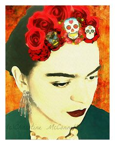 Frida Kahlo Watercolor 5x7 Print Photomontage Original Signed Mixed Media Collage Modern Wall Home Decor Day of the Dead. $14.00, via Etsy.
