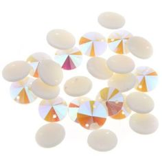 200pcs 10mm Plated Bottom AB Creamy-White Resin Conical Swe-on Flatback Button J