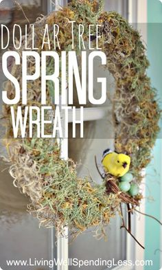 Dollar Tree Spring Wreath--LOVE this project!  Made from supplies picked up at the dollar store and super easy to make! #DiY #wreath #spring
