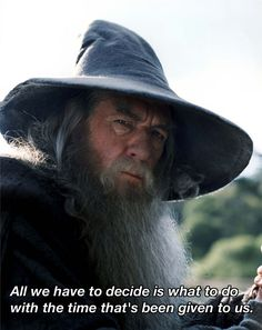 """""""All we have to decide is what to do with the time that is given us."""" —Gandalf"""