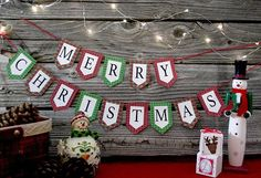 mini Merry Christmas Plaid banner