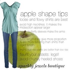 apple shape tips by rachaelpainter featuring j-brand jeans Apple Shape Outfits, Apple Shape Fashion, Apple Body Type, Apple Body Shapes, Flowy Shirts, Mode Inspiration, Body Types, Just In Case, Plus Size Outfits
