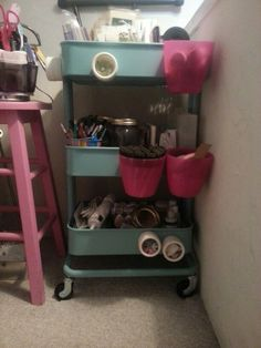 How I use my IKEA Raskog cart. Pink hanging kitchen containers from Ikea and Magnetic spice jars from The Container Store.