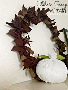 Fabric Scrap Wreath made with cardboard and fabric.  #thekolbcorner The Ultimate Party-Week 24
