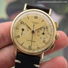 Phew! A 1963 vintage 18K yellow gold Universal Geneve Uni-Compax. This timepiece features a patinated, champagne dial with applied, yellow gold Arabic numerals, and arrow markers, and a 17-jewel, manual caliber 287 movement. (Store Inventory # 10882,...  #universalgeneve #universal #unicompax #beautiful #chrono #rare #chronograph #gold  #classic #vintage #watch #stawc #watches #cool #wristwatch #collectible #timepieces
