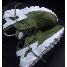 Army Khaki Green Nike Air Huarache Army Huarache Khaki Huarache Nike... ($189) ❤ liked on Polyvore featuring shoes, dark olive, sneakers & athletic shoes, tie sneakers, unisex adult shoes, army green shoes, unisex shoes, water proof shoes, green leather shoes and waterproof footwear