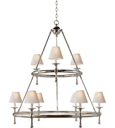 Visual Comfort Studio Sandy Chapman Classic Two-Tier Ring Chandelier in Polished Nickel with Natural Paper Shades SL5813PN-NP | Visual Comfort Lighting Lights | Visual Comfort | Visual Comfort Lighting | Alexa Hampton | Visual Comfort Sconces | Lighting New York | Lighting Fixtures